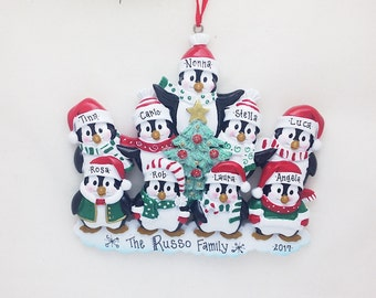 FREE SHIPPING 9 Happy Christmas Penguins Personalized Christmas Ornament / Family Christmas / Penguin Family ornament/ 9 Penguin ornament