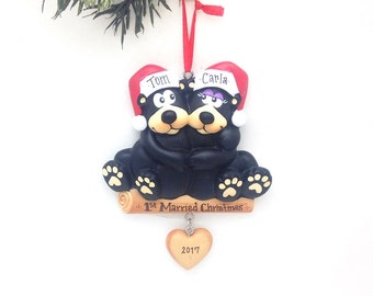 FREE SHIPPING 2 Black Bears Ornament / Personalized Christmas Ornament / Bear Couple / Christmas Ornament