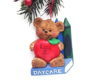 CLEARANCE: Daycare Personalized Christmas Ornament - Daycare Gift - Teddy Bear Ornament - Personalized Ornament