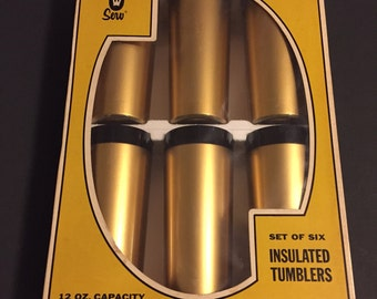 Vintage Thermo Serv Set of 6 Gold & Black Insulated Tumblers- New Old Stock- 12 oz. Capacity