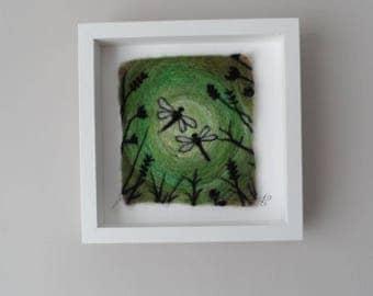 Dragonflies - original needle felt picture