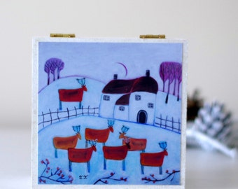 White Jewellery Box, Winter Landscape Wooden Box, Deer Design Storage Box, Whimsical Decorative Box