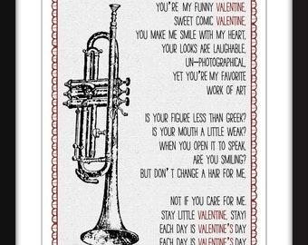 Chet Baker My Funny Valentine Lyrics, Chet Baker Print, Jazz Print, Gift for Valentine's Day, Romantic Lyric Print