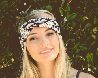 navy flower headband turban, running headband, workout headband, women headband, adult headband, valentines day gifts, Gift For Her