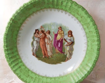 Antique circa 1900, Antique Victoria Carlsbad Austria, Bowl, Dancing Maidens, Green with Gold Accents