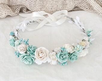 Bridal floral crown Bridal blue crown, blue halo, flowergirl crown, wedding floral crown , woodland halo, bridal wreath, blue and white crow