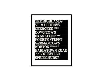 Louisville Subway Art, Printable Subway Art, Subway Wall Art, Kentucky Wall Art, Kentucky Printable, Printable,
