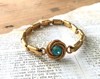Davco Vintage Rhinestone Expansion Bracelet  - Gold Fill Turquoise Crystal