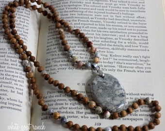 Mala, Sandalwood Necklace with Sky Eye Jasper, Hand Knotted, Meditation Jewelry, Yoga Accessory