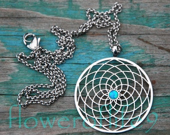 Sun flower pendant with blue lab opal (1 3/8 inch) - Stainless Steel