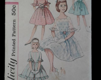 50s girl dress pattern Simplicity 4368 Size 12