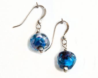 One-of-a-Kind Sterling Silver Glass Earrings