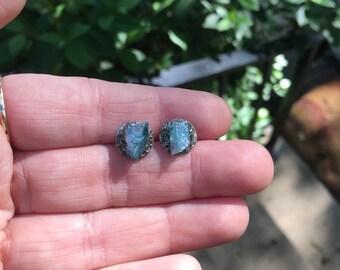 Aqua Aura Quartz Earrings