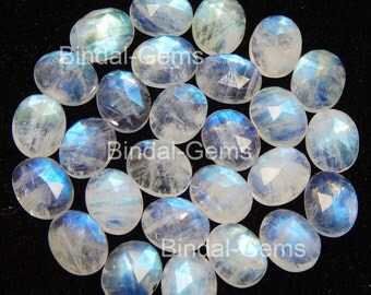 25 Pieces Lot Natural Rainbow Moonstone 6X8 MM Oval Rose Cut Calibrated Gemstone