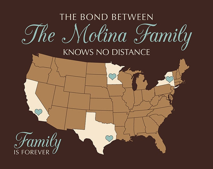Family Name Sign, Custom MAP showing locations Family Lives, Unique Christmas Gift, Chocolate Brown, Tan, Blue, Customizable Gifts | WF522
