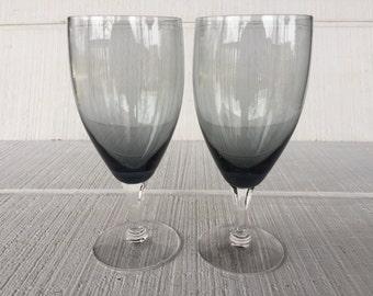 Vintage Fostoria Stemware, Debutante Gray Water goblets, vintage stemware, Vintage Crystal drinking glasses wedding toasting glasses