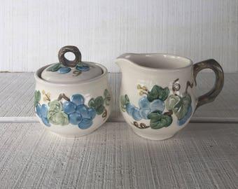 Vintage Sculptured Grape Poppy Trail Metlox Vernon sugar bowl and creamer, blue grapes Metlox, Mid century dinnerware California pottery