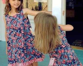 SOLD OUT! 4th of July Girls, 4th of July Girls Outfit, Patriotic Girls Dress, Size 5