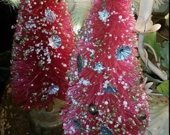 Vintage Rare Red Bottle Brush Trees