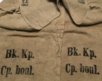 Pair Vintage European Grain Sacks from 1943 in Excellent Condition (X4275)