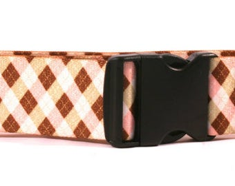 Pink and Brown Argyle 2 inch wide collar
