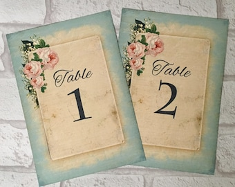 Wedding Table Number Card, Name Card Centrepiece, blue flower shabby chic vintage style