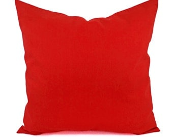 Solid Red Pillow Cover - Red Decorative Pillow Cover - Linen Pillow Cover - Solid Red Throw Pillow - Custom Decorative Pillow - 16 inch 18