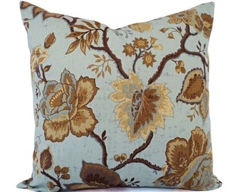 Floral Pillow Covers - Cream Brown Blue Pillow Sham - Blue Pillow Cover - Brown Throw Pillow - Custom Pillows - Decorative Pillow Sham