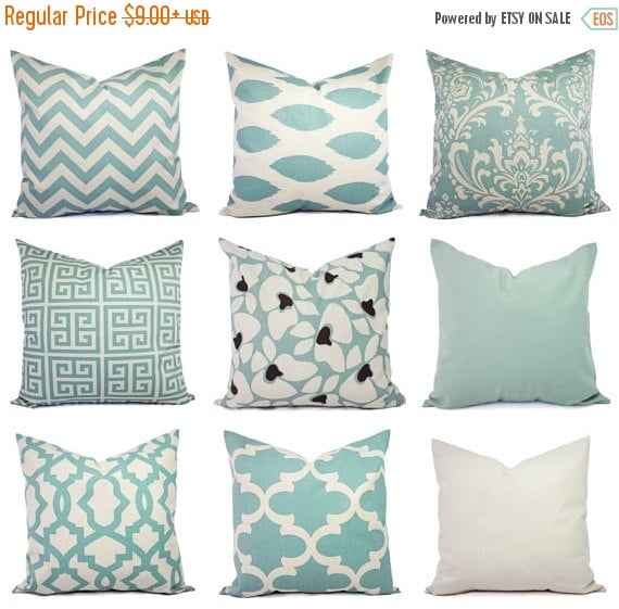 Spa Blue Throw Pillow Cover : 15% OFF SALE Spa Blue and Beige Pillow Cover by CastawayCoveDecor