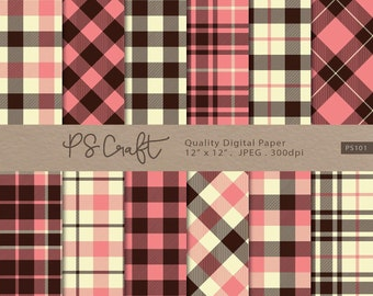 Retro Plaid Digital Papers, SEAMLESS Plaid Background, Retro Plaid Gingham Scrapbooking Paper, Pink & Brown Plaid Printable