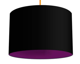 Black Linen Fabric Drum Lampshade With Contrasting Geranium Purple Cotton Lining, Small Lampshade 20cm - Large Lampshade 40cm or Custom Size