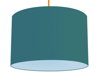 Teal Linen Fabric Drum Lampshade With Contrasting Baby Blue Cotton Lining, Small Lampshade 20cm - Large Lampshade 40cm or Custom Size