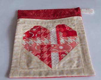 Heart Themed zippered pouch, Gift for friend, Make up bag, Notions bag, Valentines Pouch