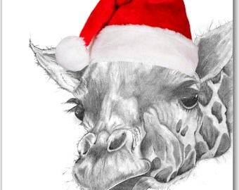 Giraffe Christmas Card - Fun Bird and Animal Holiday Card, Pencil Drawing, Safari, Wild Animal