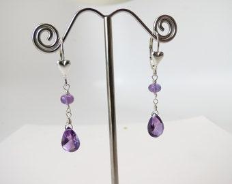 Amethyst Earrings- February Birthstone- Purple Gemstone Earrings In Sterling- Amethyst Jewelry- Keira's Crystal Creations