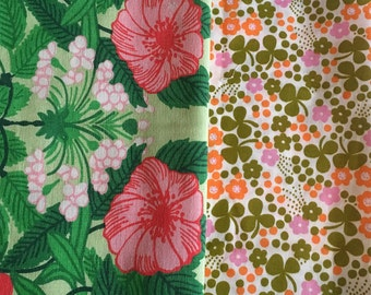 Scandinavian vintage fabric pack, retro fabrics. Swedish design. Made in the 60s, 70s. Mod floral pattern. Quilting projects. Fabric sc