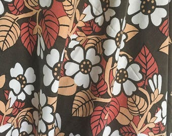 Floral fabric 70s vintage fabric swedish fabric mod retro pattern with flowers scandinavian design sheet fabric reclaimed fabric sewing