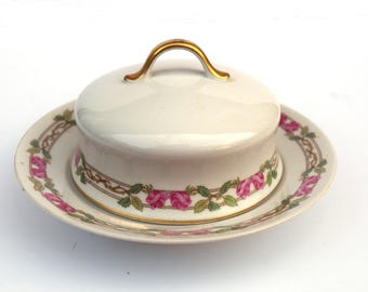 Vintage Limoges Wm Guerin & Co Domed Cheese Butter Dish Rose Pattern