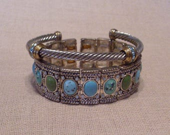 Set of two silver tone and turquoise gemstone/rhinestone vintage, retro, chic bracelets