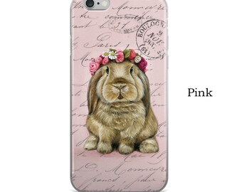 Bunny cell phone case, rabbit phone case for iPhone 5/5S/SE, iPhone6/ 6S,  iPhone6 / 6S Plus, bunny cel phone case, animal phone case, bunny