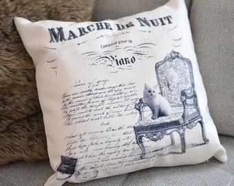 Cat cushion cover- Shabby chic cushion cover- cat lover cushion - cat lover gift- cat decor - cat pillow - cat canvas cushion- kitten
