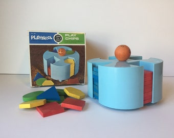 Vintage Playskool Blocks, Wooden Play Chips, Vintage Toy, Children's Toys, Education Toy, Nursery Decor, Home School Toy, Wooden Play Chips