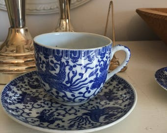 Coffee Cup and Saucer Transferware Phoenix Bird/ Flying Turkey Made in Japan