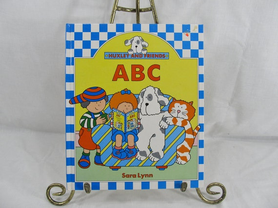Huxley And Friends ABC Sara Lynn Two Can 1988 Children's Book Vintage Dogs Cats Kids Derrydale Books