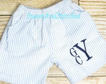 Monogrammed Seersucker Swimsuits, Monogrammed Boys swim trunks, monogrammed boys swimsuit, bathing suit, Boys seersucker swimsuit