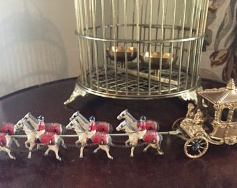 Metal Carriage with Horses, Painted Metal Horses and Carriage, Miniature Carriage with Horses, Vintage Miniature Toys,