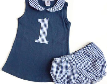 Girls Birthday Outfit - Plaid Birthday Outfit - Girls Blue Birthday Outfit - First Birthday Outfit -  Girls First Birthday - Plaid Bloomers
