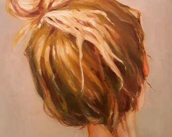 Blond Young Woman With a Messy Hair Bun- Original Female Portrait Oil Painting- Impressionist Turned Head Bust Study- Feminine Mystery