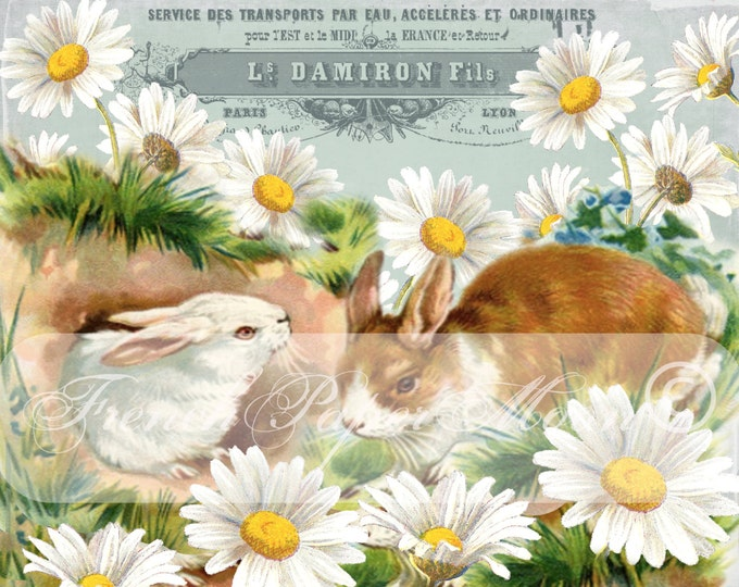 Shabby Chic Vintage Bunnies, Digital Easter, Vintage Rabbits, Flowers, French Typography, Instant Download Graphic Transfer