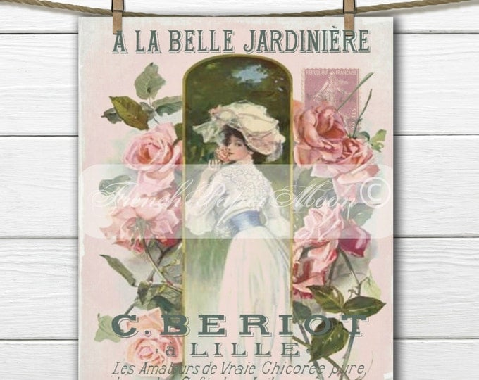 Shabby French Digital Garden, Victorian Lady, Roses, French Typography, French Pillow Transfer Graphic Download
